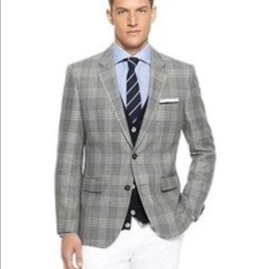 Express Photographer Fitted Suit Jacket 36S Plaid
